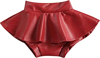 RSRZRCJ Toddler Baby Girls PU Leather Skort Skirts Solid High Waist Ruffle Pleated Tutu Shorts Mini Skirt Outfit Clothes, ...