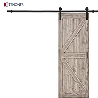 Tenoner DIY 30 inches x 84 inches K-Frame Sliding Barn Door, with Barn Door Hardware Kit (Grey)