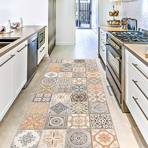 CREARREDA Tappeto cucina Persian Tiles 50x120 passatoia cucina antiscivolo, lavabile, ignifugo e antigraffio 100% Made in Italy