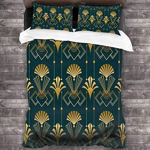 Juego de ropa de cama de 3 piezas de 218 x 177 cm, Art Deco Golden Elegance cálido colcha y edredón con 2 fundas de almohada cuadradas de sujeción suave para el dormitorio de los niños