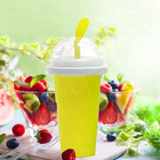 Slushy Maker Squeeze Cup Slushy Maker DIY Homemade Smoothie Cups Freeze Drinks Cup Double Layer Summer Juice Ice Cream Cup...