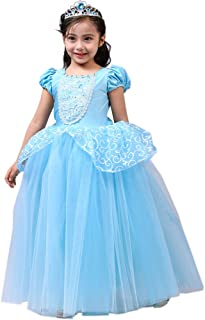 Girls Princess Cinderella Costumes Princess Dress up, Kids Party Cosplay Costume Queen Dresses for Little Girls 2-12T