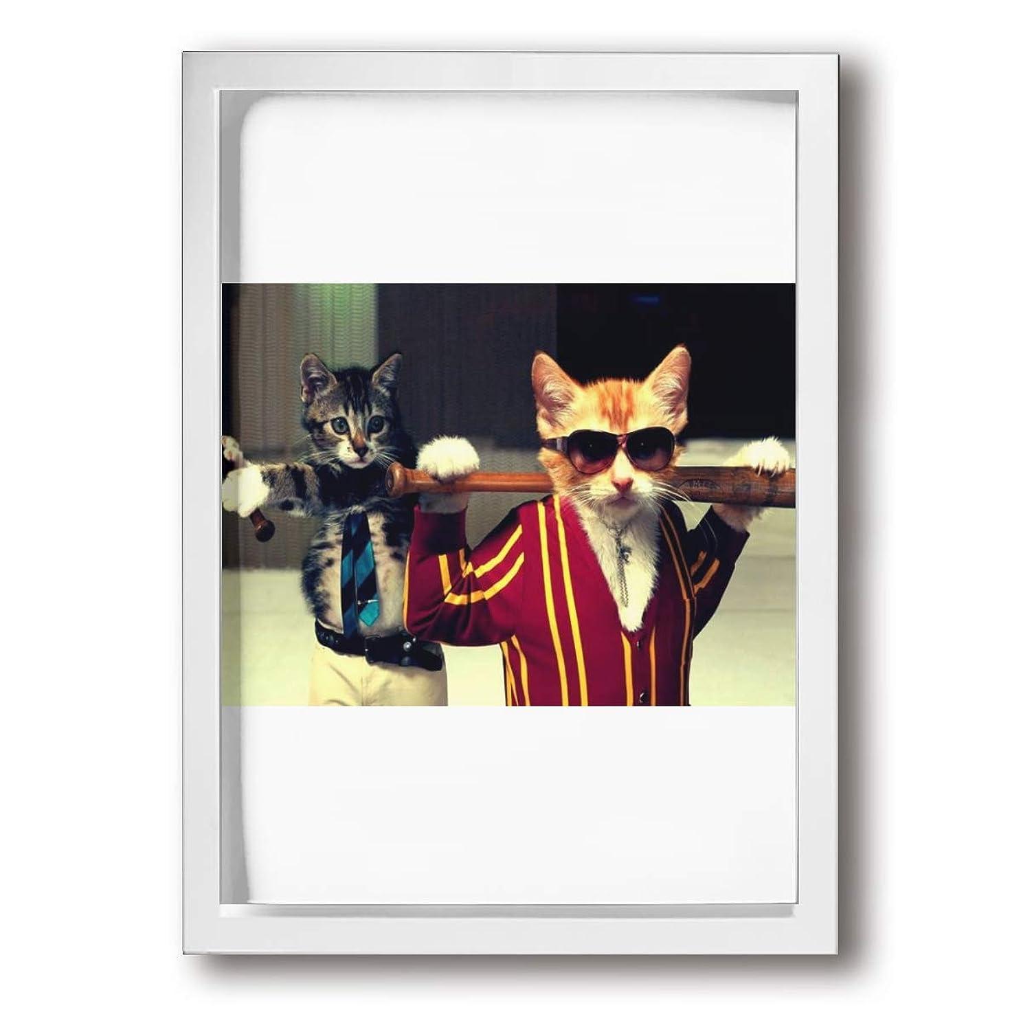 不幸不潔カメラFengjianjishangmaobu 野球バット 猫 超薄型 絵画インテリアアート 額入り(22cm*33cm) アートフレーム インテリア アートポスター 油絵 水彩画 現代絵画 壁飾り 壁掛け 風景 自然 動植物 玄関 木製 贈り物