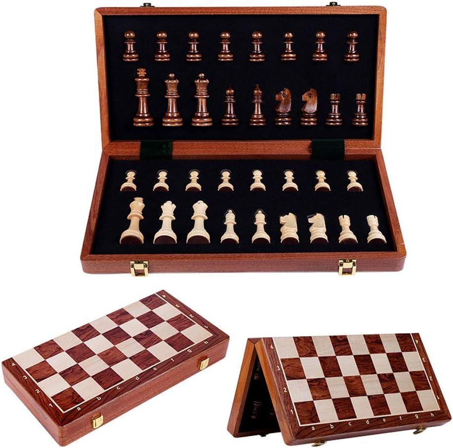 LOMJK Chess Set Wooden mart Folding Game Felted Board 39cm3 Selling rankings