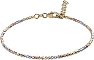 Bracciale donna tre ori, oro bianco, oro giallo, oro rosa, con palline. Tutto oro 14K, peso gr 3.7