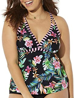 Women's Plus Size Loop Strap Tankini Top