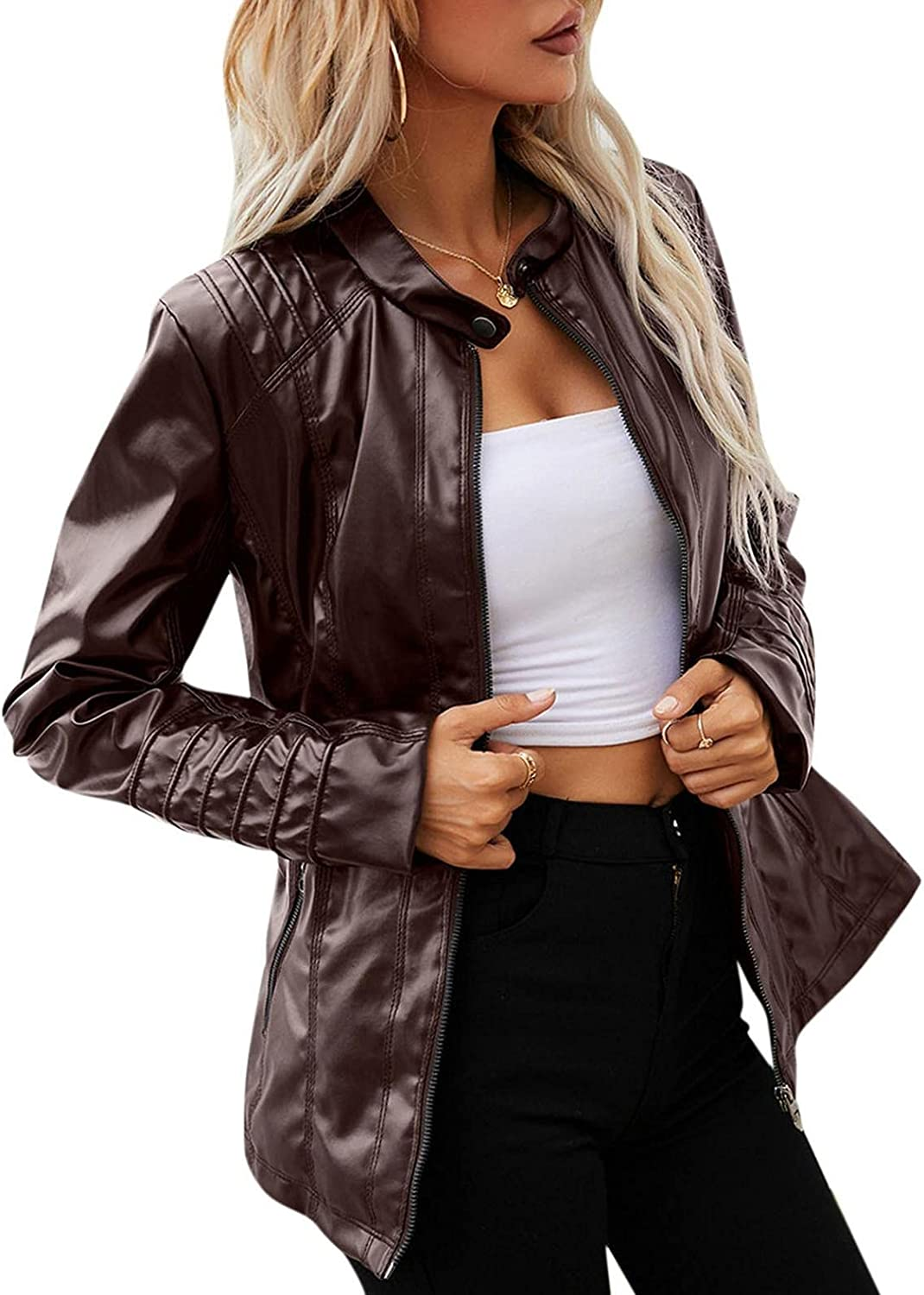 MAICC Women's Faux Leather Jackets Zip Up Basic Motorcycle Short PU Moto Biker Outwear Fitted Slim Coat with Pocket 02
