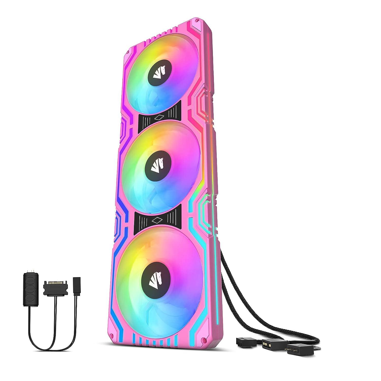 AsiaHorse Matrix-PINK - Ventilador todo en uno (58 ledes, 360 mm, con marco cuadrado integrado)
