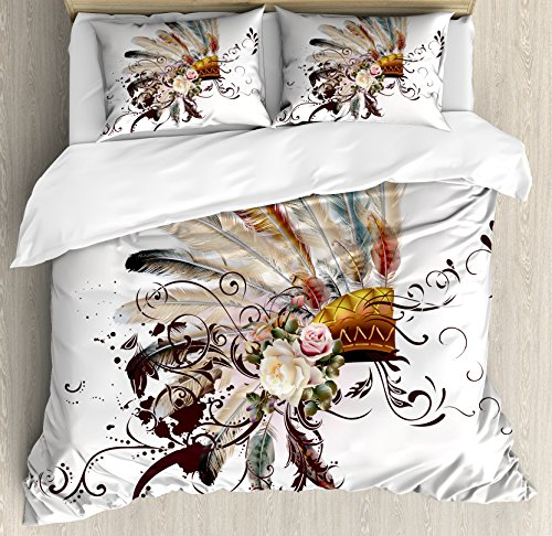 Ambesonne Feather Duvet Cover Set, Floral Arrangements Head Wear Flowers Swirls Shapes, Decorative 3 Piece Bedding Set with 2 Pillow Shams, King Size, Cream Ivory
