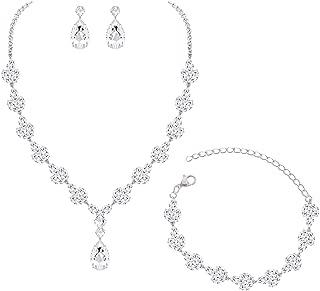 CZ Zirconia Necklace Earrings Bracelet Jewelry Set for Prom Wedding Bridal Bridesmaid