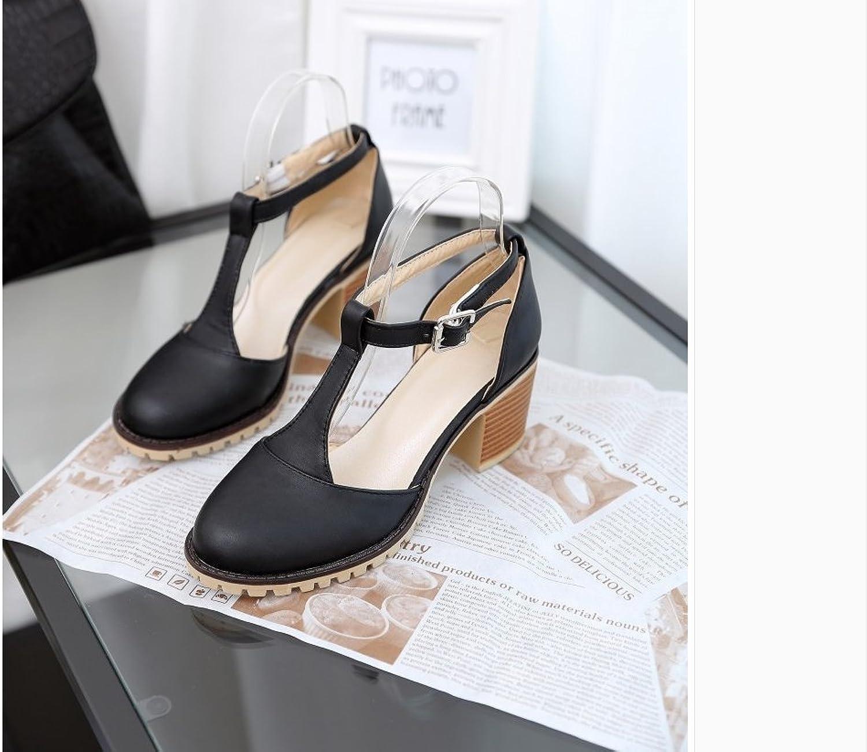 WHW Women's Summer Fall Two-Piece PU Office Career Dress Party Evening Chunky Heel Block Heel Sandals,42,Black