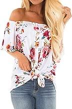 SAMPEEL Womens Off The Shoulder Top Short Sleeve Button Down Flowy Knot Shirt