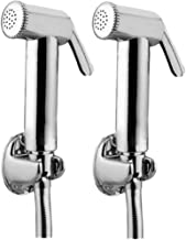 JAQUAR Ald Chr-565 Brass Health Faucet with Tubes and Hooks- Set of 2 (Chrome Finish)