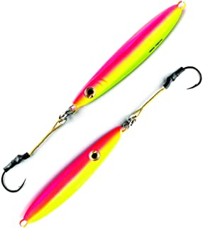 Flat Side Vertical Fast Irons Speed Ocean Jigs w/ MUSTAD Hooks & OWNER Rings | Military Grade Kevlar Assist Cord | 7 Colors & 5 Weights | Scientifically Proven Color & Depth Hydro-Engineering