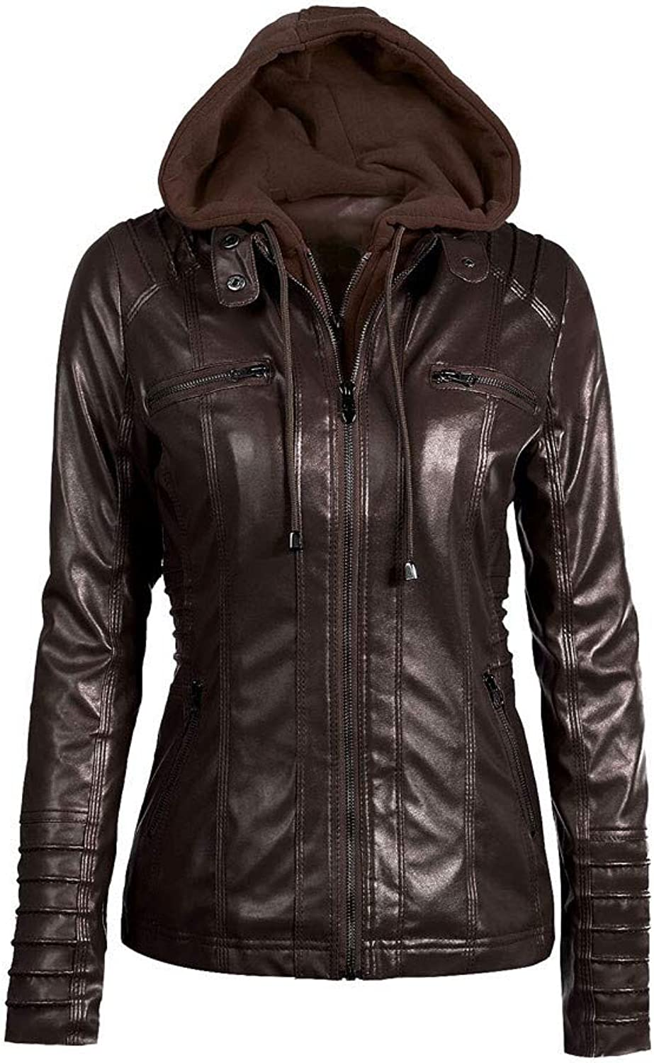 Liraly Womens Coats and Jackets Slim Hooded Jacket Overcoat Coat Lapel Removable Zipper Outwear Tops