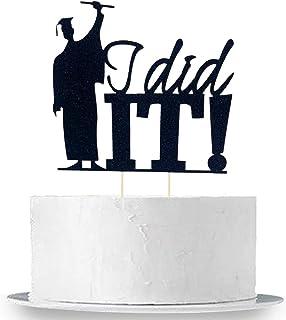 I Did It Graduation Cake Topper Decorations - Large, Black | Grad Holding Degree with Joy of Success, 2021 Graduation Deco...