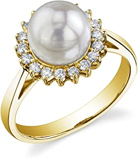 THE PEARL SOURCE 14K Gold 8-8.5mm Round Genuine White Akoya Cultured Pearl & Diamond Solar Ring for Women