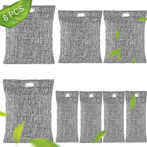 【2020 Upgraded】 Bamboo Charcoal Air Purifying Bags 8 Pack (2 x 200g) (2 x 100g) (4 x 50g) Charcoal Bags Odor Absorber for Home, Pets, Car, Closet, Basement