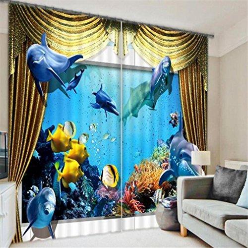 PLYY 3D-Fenstervorhänge isoliert Ozean Pavillon Schlafzimmer dekorative Schattierung Gewebe europäischen Stil drucken Polyester dekorative Digitale, F