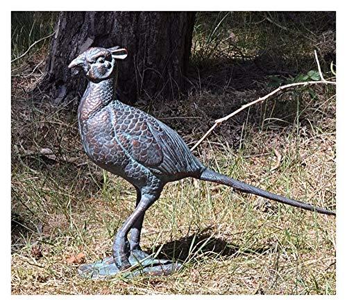 prächtige, große Gusseisen Fasan Henne Garten Skulptur Schmuck mit Die handgefertigt Antik Bronze Patina, 50cm lang