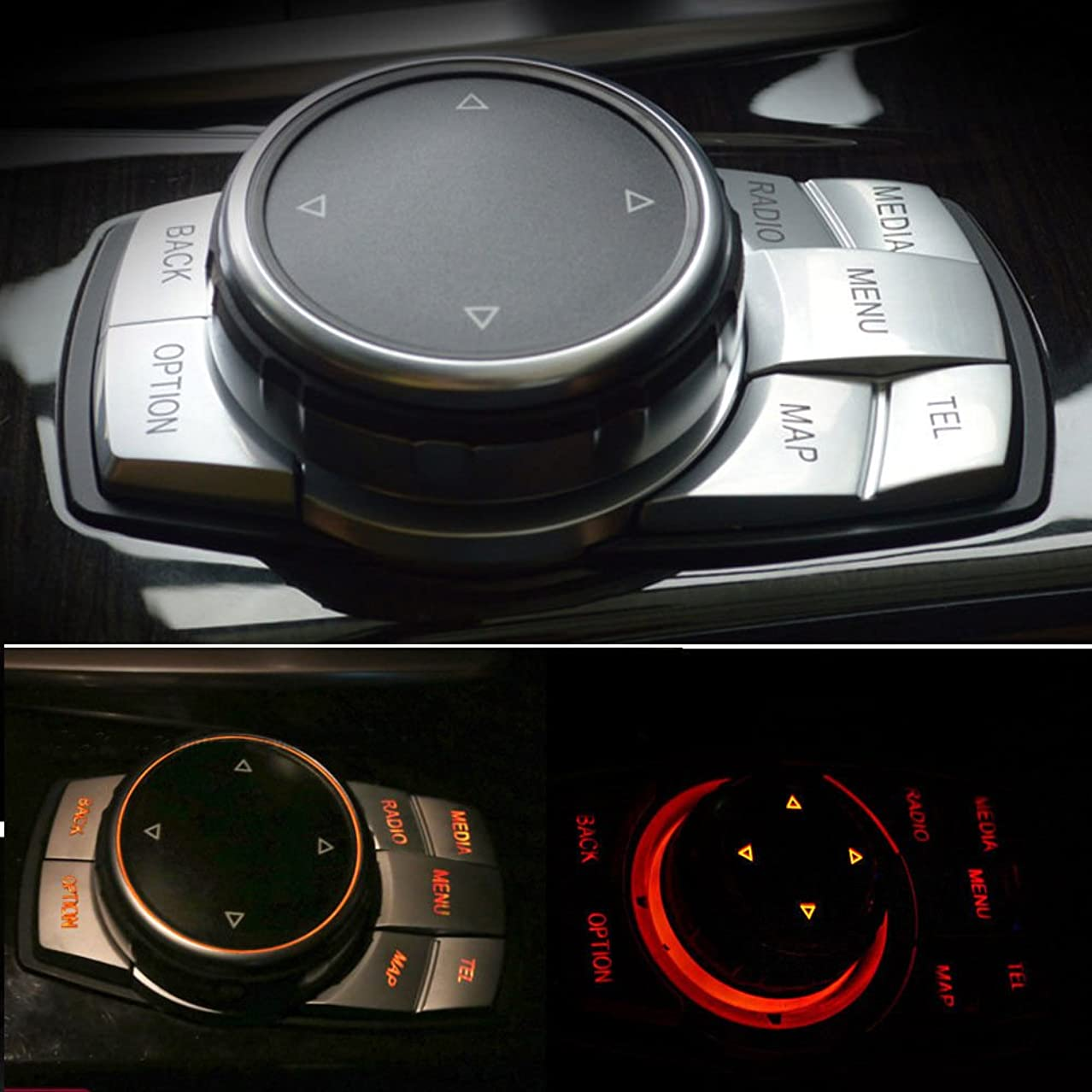 引き金クレア保険Jicorzo - Interior Chrome Multi-Media Button Cover Trim Decoration Car Styling Sticker ABS For BMW 7 Series E60 X5 F15 X6 F16 E70 E71 E72