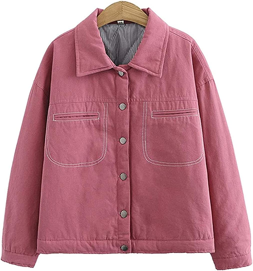 Women's Thicken Quilted Lined Cotton Trucker Jacket Fashion Outerwear