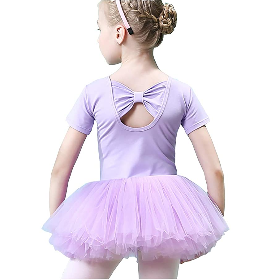 Gurcyter Athletic Leotards,Girls' Short/Long Sleeve Ballet Leotard Skirted Dance Back Bowknot Dress