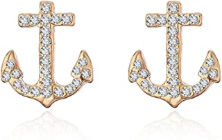 CHUYUN Vintage Anchor Sailor Stud Earrings Personality Mini Full Crystal Anchor Shape Earrings Geometry Jewelry for Women