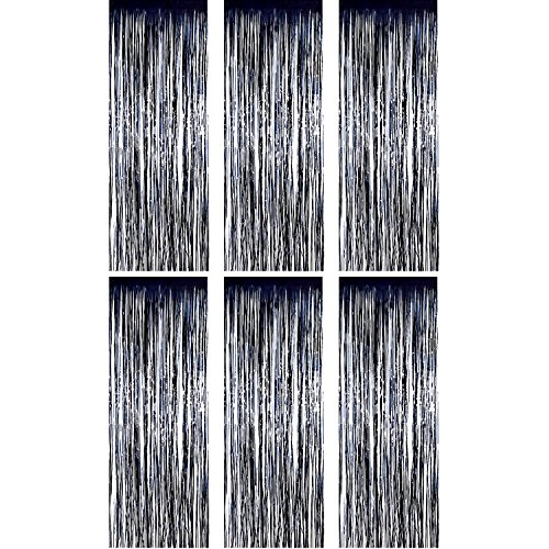 Sumind 6 Pack Foil Curtains Backdrop Fringe Tinsel Metallic Curtains Photo Backdrop for Wedding Birthday Party Stage Decor (Black)
