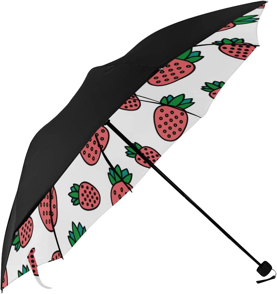 Compact Umbrella Credence Waterproof Strawberry P Underside Fashion Max 89% OFF Fruit