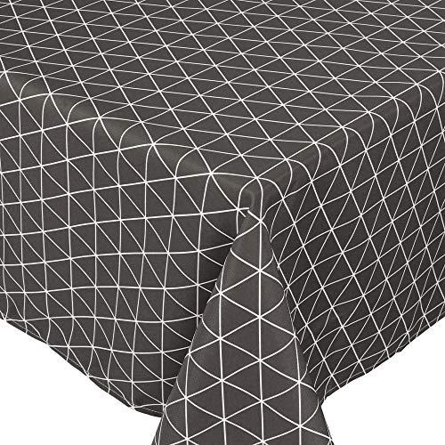 Nappe carrée 170x170 cm imprimée 100% polyester PACO géométrique gris Poivre
