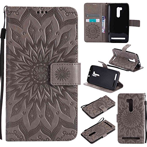 pinlu PU Leder Tasche Etui Schutzhülle für Wiko Pulp 3G (5 Zoll) Lederhülle Schale Flip Cover Tasche mit Standfunktion Sonnenblume Muster Hülle (Grau)