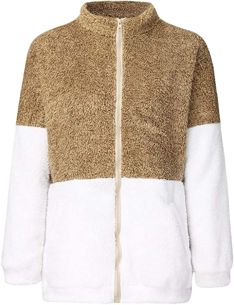 GreatestPAK Damen Fleece Hoodie Langarm Kordelzug Taschen Sweatshirt Einfarbig Warm Plüsch Pullover Übergröße Gelb_21