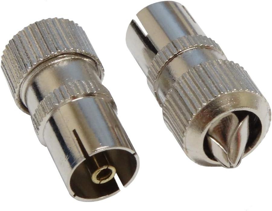 Macho Met/álico AERZETIX: 2X Conectores para Cable coaxial de Antena TV C2757