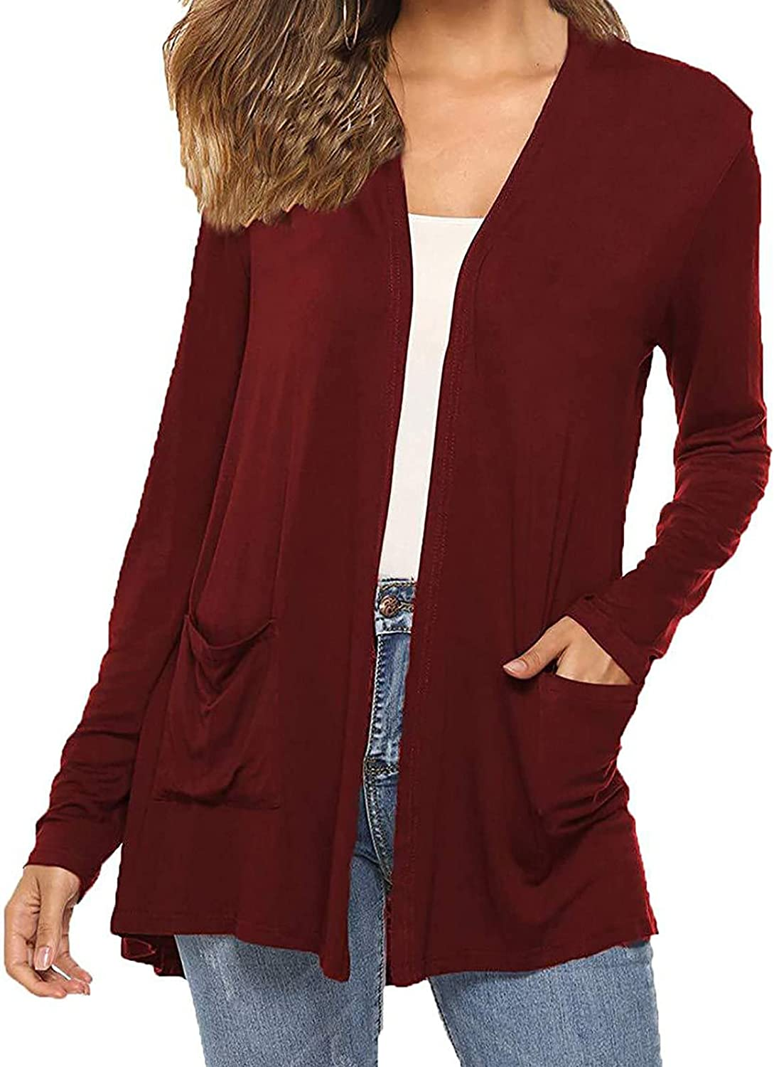 RFNIU Cardigan For Women Lightweight Long Sleeve Soft Kimono Open Front Cardigans With Pockets Casual Solid Jacket Tops
