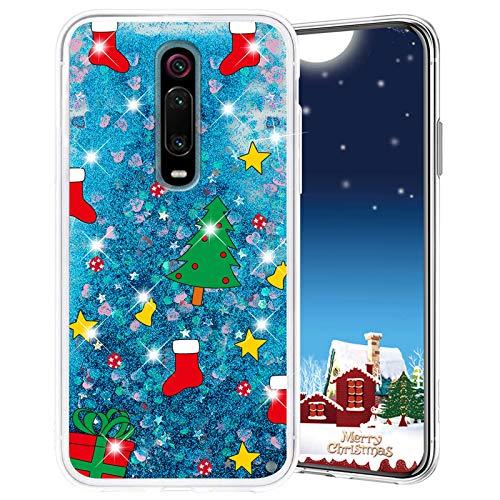 Misstars Weihnachten Handyhülle für Xiaomi Redmi K20/K20 Pro/Mi 9T/Mi 9T Pro, 3D Kreativ Glitzer Flüssig Transparent Weich Silikon TPU Bumper mit Weihnachtsbaum Muster Design Anti-kratzt Schutzhülle