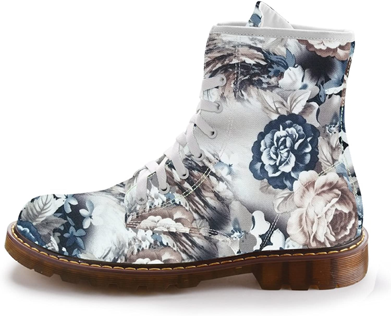 FIRST DANCE Autumn Winter Women Martins shoes Fashion Footwear for Ladies Mid-Calf Boots Flower Printed Cute shoes