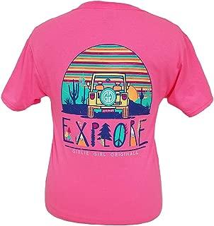 Girlie Girls Explore Neon Pink Preppy Short Sleeve T-Shirt Adult