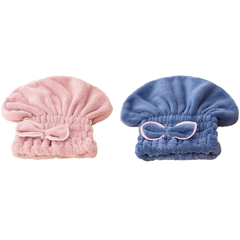 罹患率資金苦しめるHealifty ヘアドライヤーキャップシャワーキャップバスヘアキャップ2個(青とピンク)