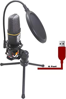 USB Microphone with Stand and Pop Filter Double Layered Suspension Tripod for PC/Gaming Laptop Windows or Mac YouTube Twitch Video Recording and Streaming Audio