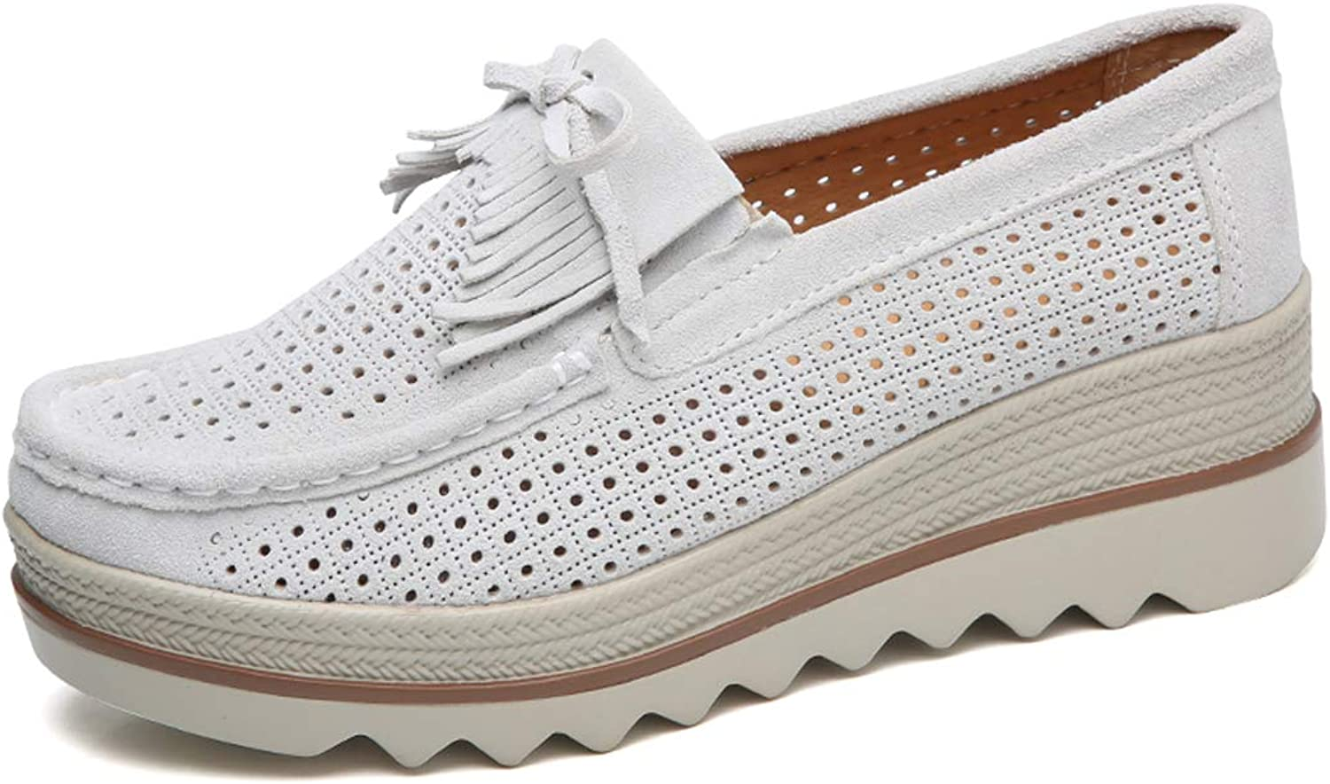 Ruiatoo Women Platform Slip On Loafers Comfort Genuine Suede with Tassel Hollow Out Low Top Moccasins Off-White 40