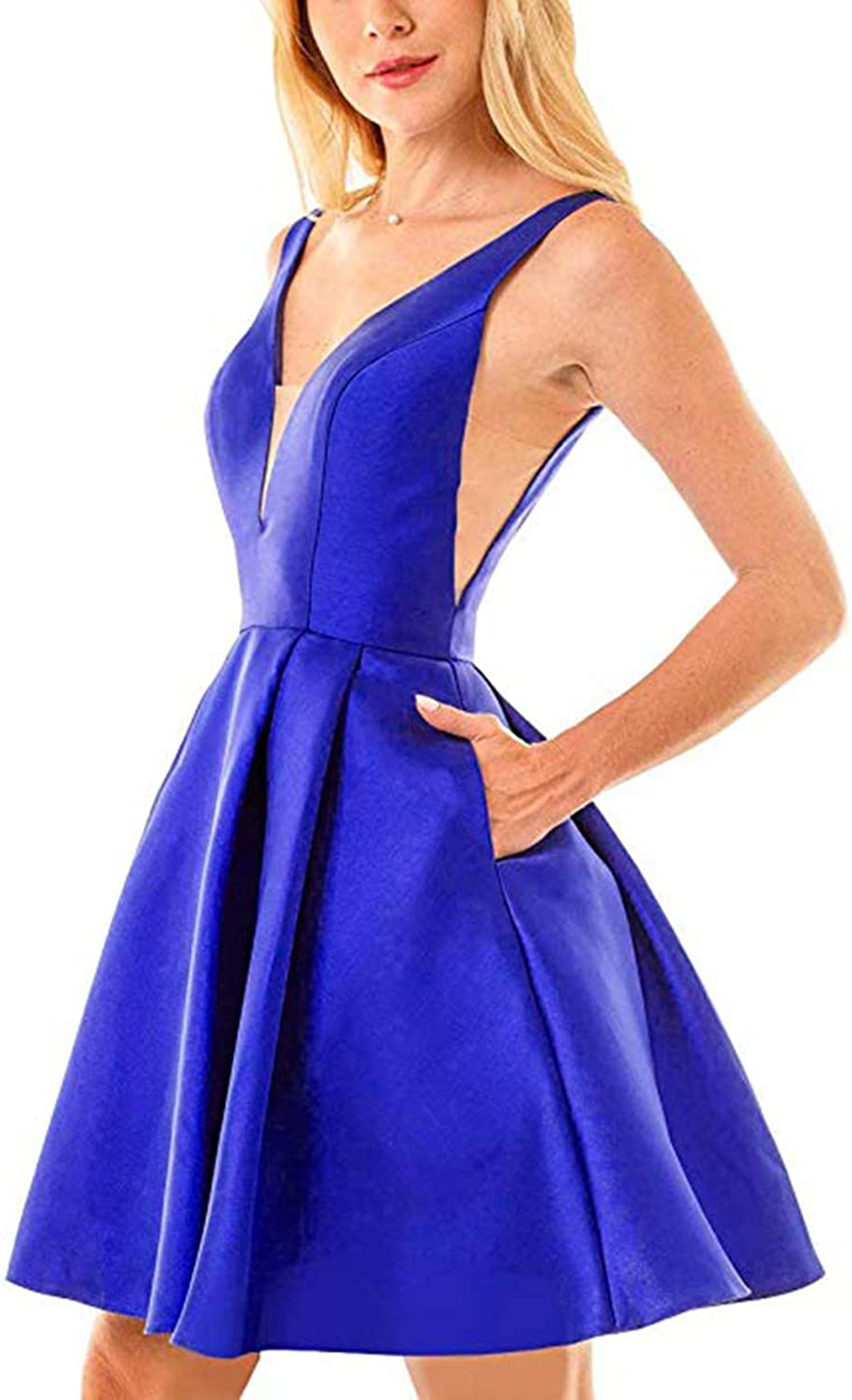 JiusTan Sexy V Neck Satin Prom Dresses 2019 Short Homecoming Dresses Formal Party Gowns for Women with Pockets