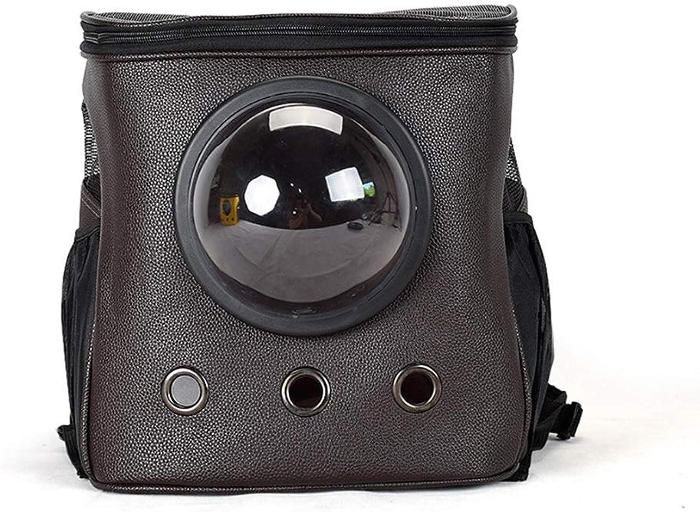 FELICIPP Shoulder Pet Backpack Cat And Dog Out Convenient Space Capsule PU Bag Grid Breathable Pet Bag (color   Brown, Size   34  26  38CM)