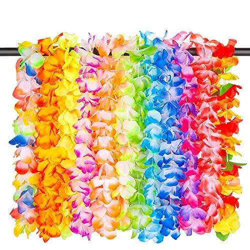 LongSky 12 PCS Hawaiian Leis Party Favors Tropical Hawaiian Necklace Silk Flower leis for Luau Beach Birthday Party Decorations and Party Supplies