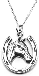 Sterling Silver Lucky Horseshoe Charm Pendant Necklace, 18
