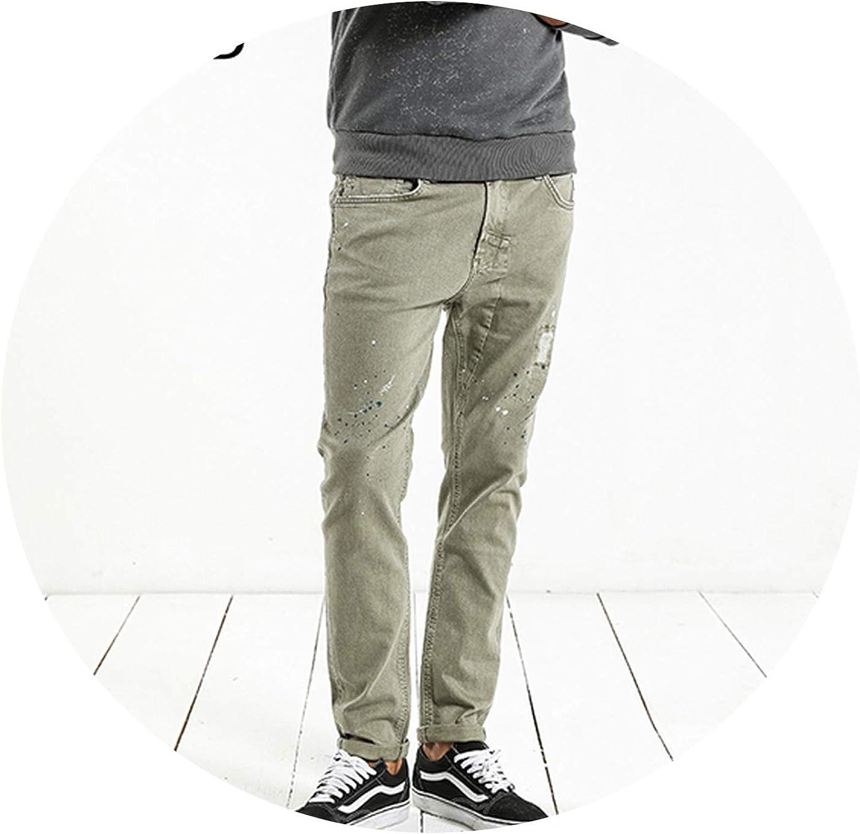 Glittering time-CA Fashion Paint Splat 2019 Vintage Men Jeans Casual Hole Zipper Denim Pants,Light Army Green,32