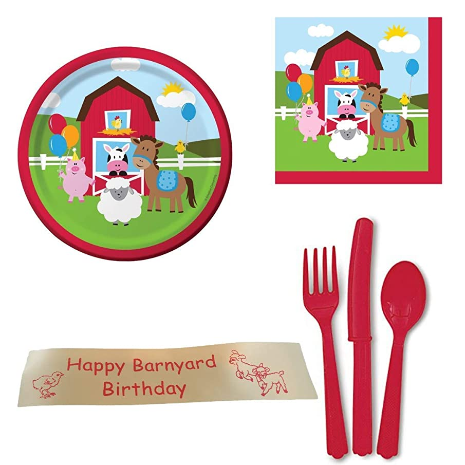 Farm Birthday Party Supplies Including Dessert Size Plates, Napkins, Flatware and Bonus Printed Ribbon