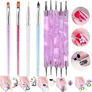 4Pc Nail Art Painting Brushes Set Nail Dawing Bulider Brush Pen 5pc Nail Dotting Tool Pen Flower Feather Nail Art Sticker Decal Nail Art Tools Kit for Salon French Manicure Design (SET32 G)