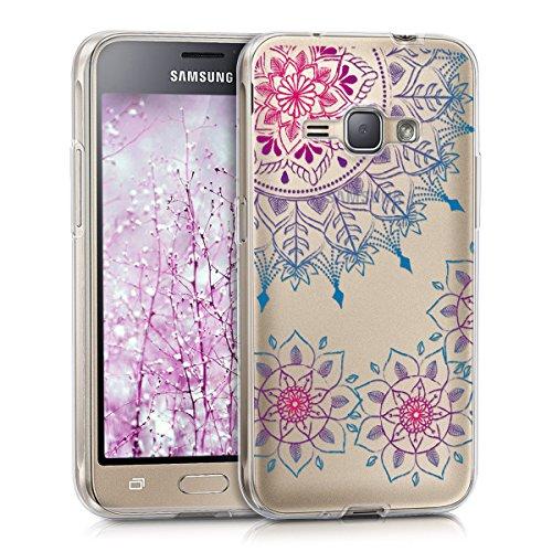 kwmobile Custodia Compatibile con Samsung Galaxy J1 (2016) - Cover Silicone TPU - Protezione Back Case - Art Mandala Fucsia/Blu/Trasparente