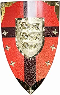 Knight Shield Red Cold Rolled Sheet Medieval Gold Lions Shield Wall Sculpture Decor 48x72cm Medieval Gear (Color : Red, Si...